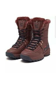 Fila DISRUPTOR BOOT 0545-647 Women's Tawny Navy Red Athletic Winter Fur Shoes