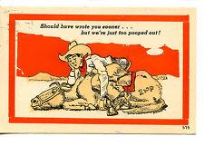 Tired Cowboy Asleep on Back of Horse-Drawn Comic Western Humor Vintage Postcard