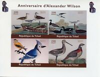 Chad 2018 MNH Alexander Wilson Ornithologist 4v IMPF M/S Birds Stamps