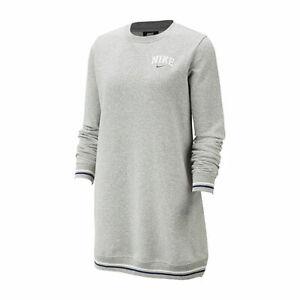 NWT NIKE Women's Sportswear Fleece Sweatshirt Dress Gray Black XS