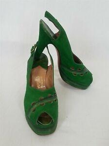 Vintage 1940s Platform Shoes Peep Toe Green Suede Size 6aa Pengras Palter-Deliso