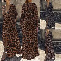 Women Leopard Print Plus Size Kaftan V-neck Long Sleeve Evening Party Maxi Dress