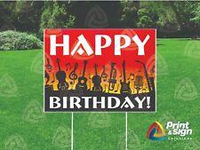 Happy Birthday Music Yard Sign Single Sided Print Full Color 18 X 24