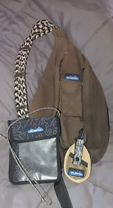 KAVU Black Rope Sling Bag Backpack Crossbody with Keep it Close and keyblur