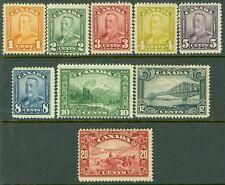 CANADA : 1928-29. Scott #149-57 Mint Original Gum Hinged. Catalog $225.00.