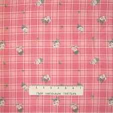 FLANNEL Fabric - Bessie Pease Daisy Bouquet Pink Plaid - Quilting Treasures Yard