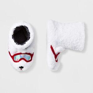 NWT Kids' Polar Bear Bootie Slippers - Cat & Jack Ski Goggles