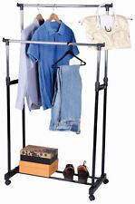 Kleiderständer Doppelstange - rollbar, höhenverstellbar - Kleiderwagen Garderobe