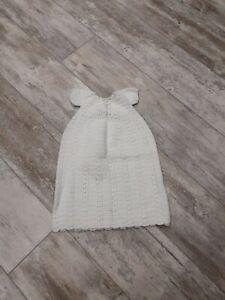 Vintage Christening Gown Dress Handmade White Crochet SS Newborn & Up