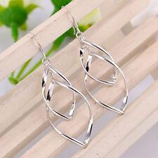Silver Plated Twist Earrings.Pair of Dangle Drop Double.Womens 925 Sterling