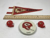 Vintage Kansas City Chiefs Mini Pennant, Gatorade Lid, & 2 Helmet Push Pin