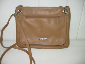NEW DIRECTIONS Tan Faux Leather Crossbody Bag Pocketbook Excellent Condition