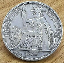1910 French Indo China (Vietnam) 1 Piastre .900 Silver Coin Piastre de Commerce