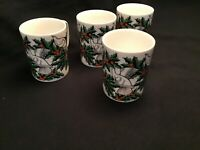 (4) VINTAGE FITZ & FLOYD DOVE AND HOLLY MUGS IN EXCELLENT  CONDITION