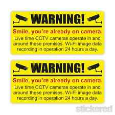 2 x CCTV CAMERA WARNING CAR / WINDOW / WORKSHOP SECURITY STICKERS