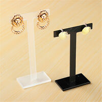Set of 3 Acrylic Earrings Jewelry Display Stand Holder Rack T-Shape Showcase NEW