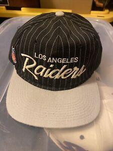 Vintage Los Angeles Raiders Sports Specialties Script Pinstripe Snapback Hat Cap