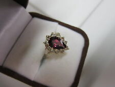 GORGEOUS ESTATE 14 KT GOLD 2.95 CTW VIVID RUBELLITE AND DIAMOND RING !!!!!!!