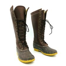 LL Bean Boots Tall Brown Leather Boots Shearling Lined Womens Size 8