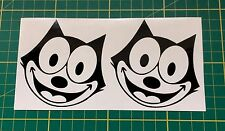 2x Vinyl Sticker Decal FELIX THE CAT Black Fit Car Laptop Tablet Toolbox Desktop