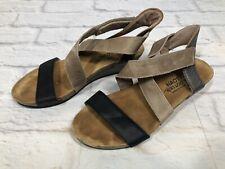 Naot Vixen Womens Size 37 / 6 Black & Tan Criss Cross Strappy Wedge Sandals 3n8