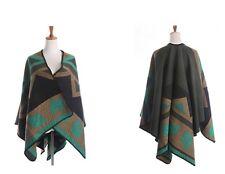 Asymmetric Wool Knit Wrap Poncho Shawl Scarf Cardigan Wrap Brown Green