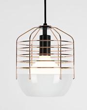 Roll & Hill Bluff City 8inch Wire Cage Pendant Light (White+Copper)