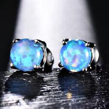 6mm Round Blue Fire Opal Stud Earrings Womens Fashion 925 Silver Plated Earrings