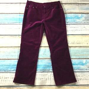 DG2 Womens Pants size 14P 14 Petite Burgundy Red Cotton Stretch Velvet Straight