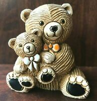 Artesania Rinconada Teddy Bear with Baby Bow Ties 327A Ceramic Figurine Uruguay