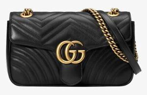Gucci GG Marmont Mini Matelasse Shoulder Leather Bag   Black