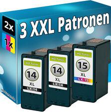3x TINTE PATRONEN für LEXMARK 14+15 X2600 X2620 X2630 X2650 X2670 Z2300 Z2320