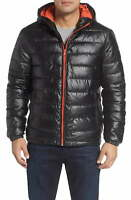 Cole Haan Mens Jacket Black Size Small S Faux-Leather Zip Puffer $139 #045