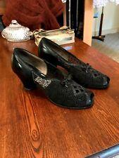 Vintage 1930's Flex Walker Black Open Weave Fabric/Leather Peep Toe Shoes