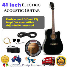 Full Size 41 5 Band EQ Electric Acoustic Guitar Top Solid Cutaway Design - Black