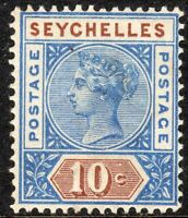 Seychelles 1890 ultramarine/brown 10c crown CA Die I mint SG4
