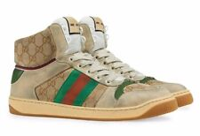 Gucci Mens Screener High Top Sand GG Logo Red Green Web Lace Up Sneaker G 9 10