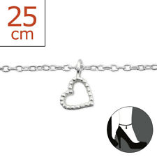 Love Heart 22cm Expandable to 25cm Tjs 925 Sterling Silver Anklet Hollow