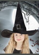 Kids Halloween Black Velvet Deluxe Gothic Fancy Dress Fantasy Witch Hat