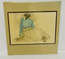 "R C Gorman Tile Art Woman with Concho Belt Signed Image 7.5"" x 7.5"""