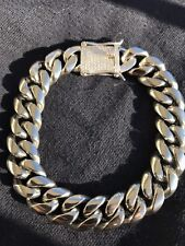 Men Cuban Miami Link 14mm Thick Bracelet White Gold Over Stainless Steel