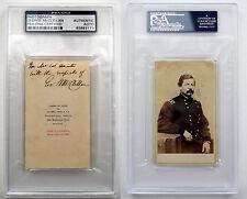 MAJOR GENERAL GEORGE B. MCCLELLAN CDV autograph PSA/DNA COA Civil War VERY RARE!