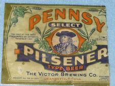 Original Antique Victor Brewing Pennsy Pilsener Beer Label Jeannette, Pa,Trimmed