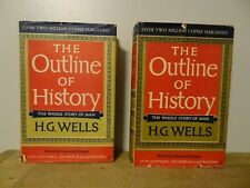 The Outline of History H.G.Wells VOLS 1 & 2, vintage hardcover books  with DJ