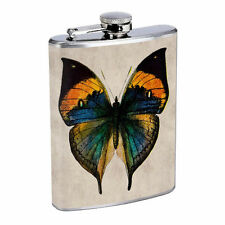 Vintage Butterfly Silver Hip Flask D10 8oz Stainless Steel Old Fashioned Retro