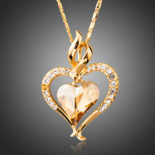 Yellow Gold Plated Austrian Crystal Heart Design Chain Necklace Pendant Jewelry