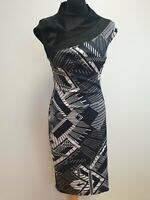 J320 WOMENS KAREN MILLEN BLUE WHITE BLACK BODYCON STRETCH FORMAL DRESS UK 12