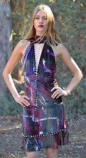 Authentic Designer FENDI Silk Velvet V Neck Evening Cocktail Knee Dress, 38-XS