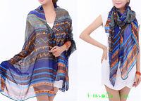 Women's Fashion Long Soft Wrap  Shawl Silk Chiffon Scarf Scarves