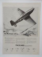 Original Print Ad 1943 PACKARD Up Goes Mustang's Ceiling  Vintage Artwork